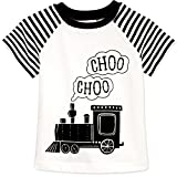 2Bunnies Little Boys Toddler Choo Choo Train Vintage Steam Engine Striped T-shirt Tee