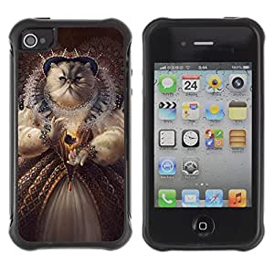 Hybrid Anti-Shock Defend Case for Apple iPhone 4 4S / Queen Cat Painting