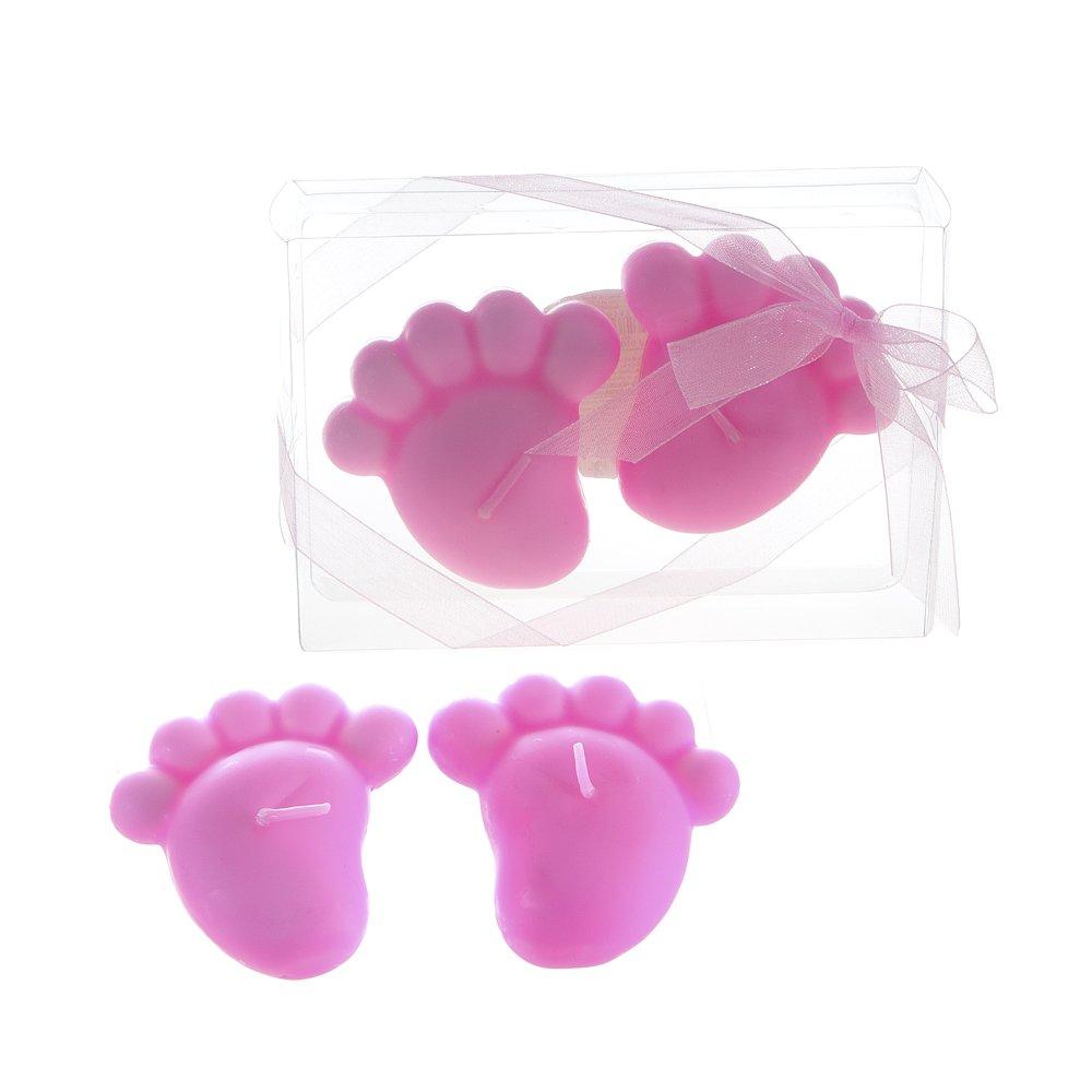 Lunaura Baby Keepsake - Set of 12 'Girl' Baby Footprints Floating Candle - Pink CBA010-P