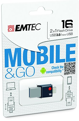EMTEC Mobile & Go 2 in 1 Flash Drive with USB 3.0 and Micro-
