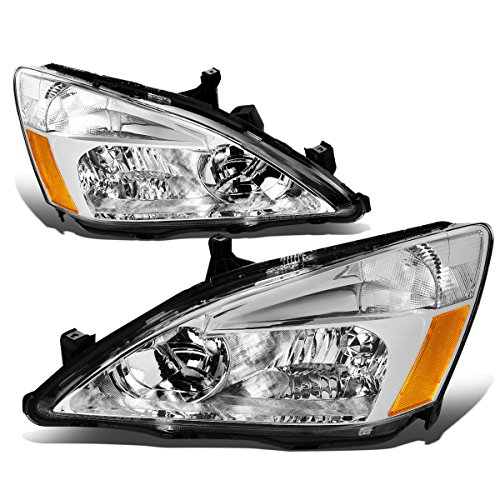 For 03-07 Honda Accord Pair of Chrome Housing Amber Corner Replacement Headlights/Lamps