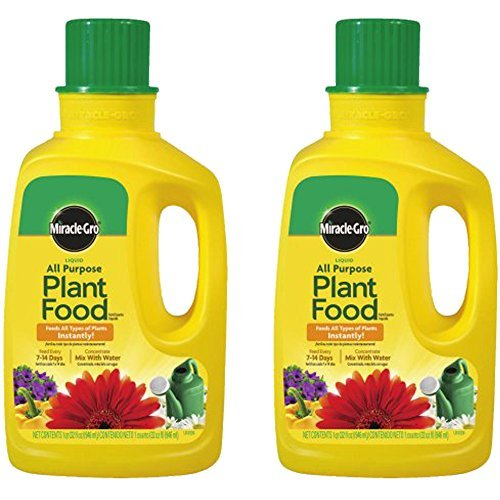 - Miracle-Gro 1001502 All Purpose Liquid Plant Food Concentrate, 32-Ounce (Plant Fertilizer), 2-Pack
