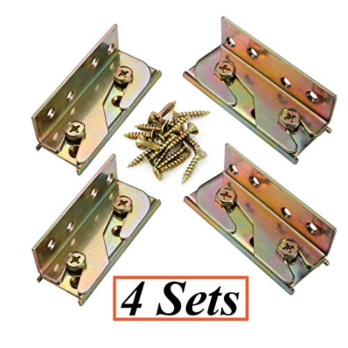 SpzcdZa 4 Sets Bed Rail Brackets Heavy Duty No-Mortise Bed Rail Fittings Wooden Bed Frame Connectors with Screws for Headboards Footboards Hold