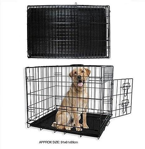 Nuevo Perro Cachorro Negro metal jaula grande Animal Pet 91 x 61 x ...