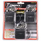 "Trimax TPW3125 3-Pack of Keyed Alkie TPW1125 Weather Proof Locks 1-1/8"" x 5/16"" Shackle"