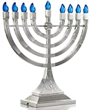 Zion Judaica LED Electric Hanukkah Menorah - Battery or USB Powered (Silver) - Batteries and Cable Not Included