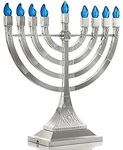 Zion Judaica LED Electric Hanukkah Menorah - Battery or USB Powered (Silver)