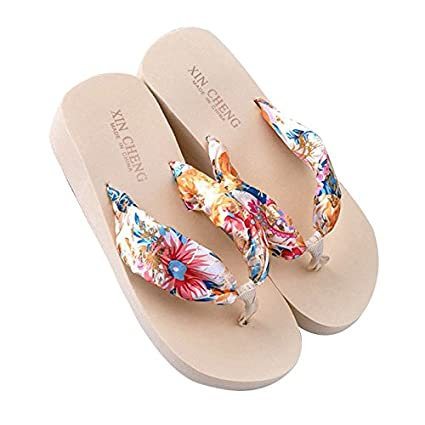 Flip Flops - TOOGOO(R)Beige Women Bohemia Floral Beach Sandal Wedge Platform Thongs