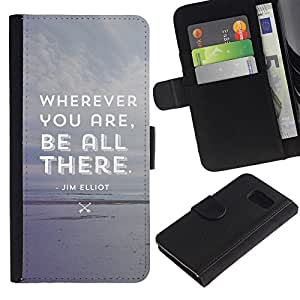 Paccase / Billetera de Cuero Caso del tirón Titular de la tarjeta Carcasa Funda para - Be All There Attentive Grey Beach Text - Samsung Galaxy S6 SM-G920
