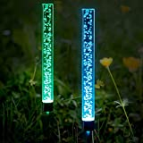 Anpro 2 Pcs Solar Tube Lights Garden Solar Lights Outdoor Solar Acrylic Bubble Lights RGB Color IP65 Waterproof Solar LED Lights for Garden Pathway Lawn Decoration