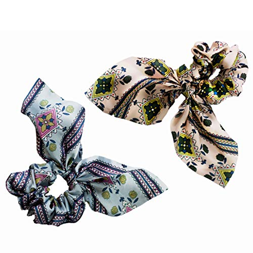 2 Pack Hair Scrunchies Handmade Boho Ponytail Holder Accessories for Women and Girls