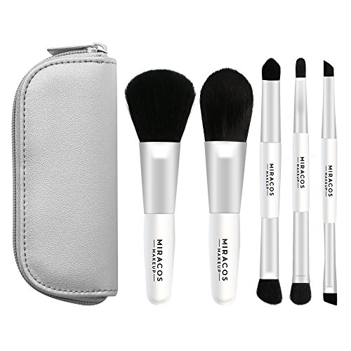 (Miracos Makeup Portable Mini Face Makeup Brushes Kit with Travel Case 5 Pcs - Synthetic Hair, White)