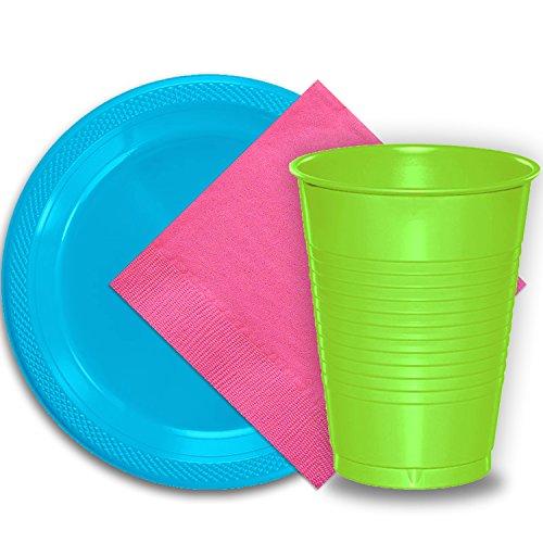 50 Aqua Plastic Plates (9