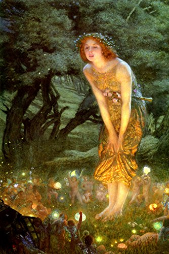 Midsummer Eve Girl Fairy Forest Little Fairies 1909 Painting By Edward Hughes Large Canvas