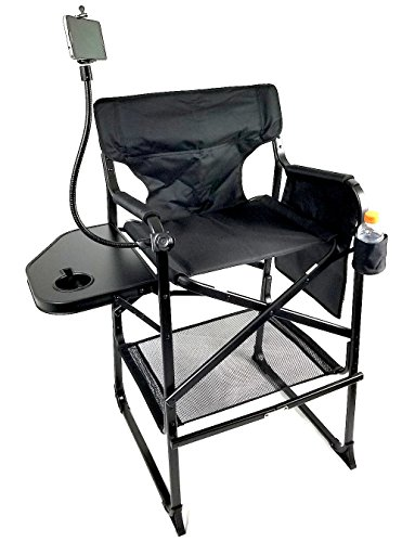 TuscanyPro Tall Compact Aluminum Director Chair w/ PHONE HOLDER & Trash Bag--CARRY BAG INCLUDED! PRODUCT--5 YEARS WARRANTY by Tuscany PRO