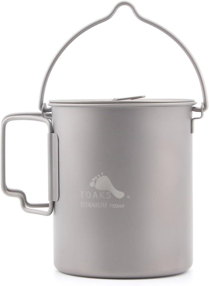 Olla de titanio con asa para camping, 750 ml