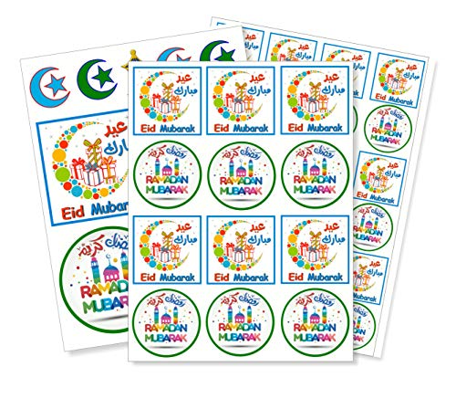 40+ Colorful Eid and Ramadan Fun self Adhesive Sticker Set for Gifts and Crafts ()