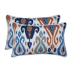 """Pillow Perfect Indoor/Outdoor Paso Azure Rectangular Throw Pillow (Set of 2) 18.5"""" x 11.5"""" x 5"""" Blue 2 Piece"""