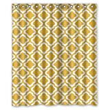 Mustard Yellow Curtains Eco-friendly Mustard Yellow Quatrefoil Pattern Shower Curtain Waterproof Bathroom Curtain Liner with Hook 60