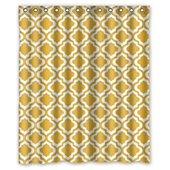 Amazon Eco Friendly Mustard Yellow Quatrefoil Pattern Shower