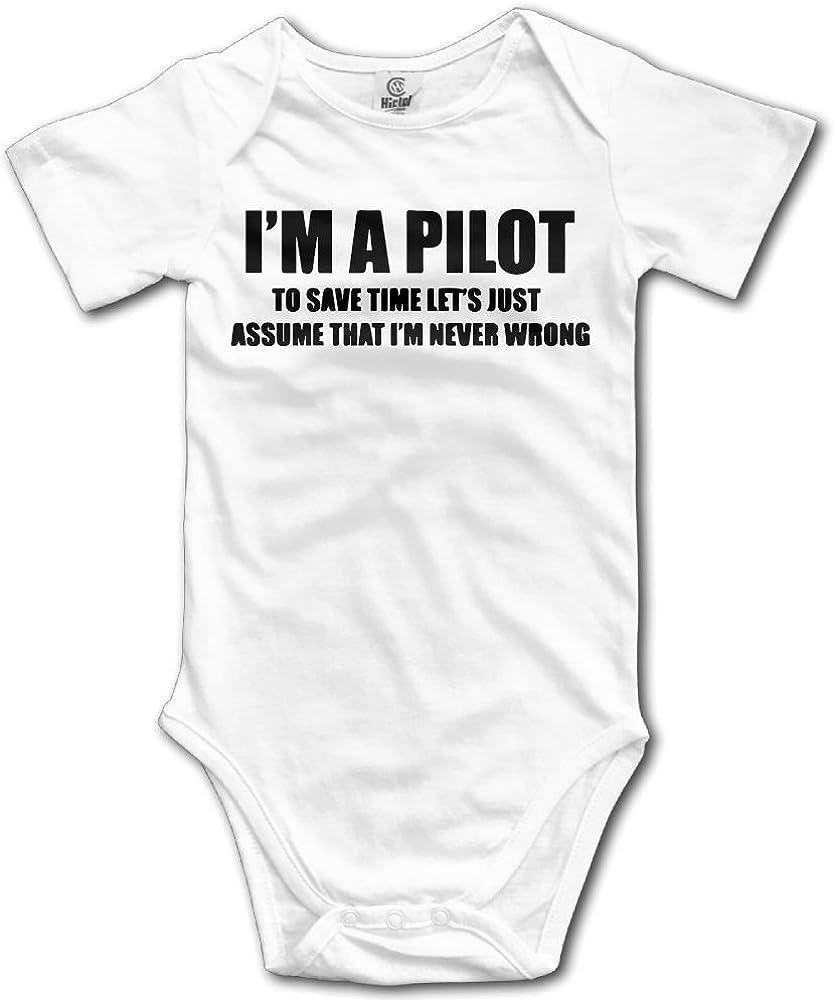 SmallHan Pilot Flight School Unisex Particular Toddler Romper Baby Girl Jumpsuit White