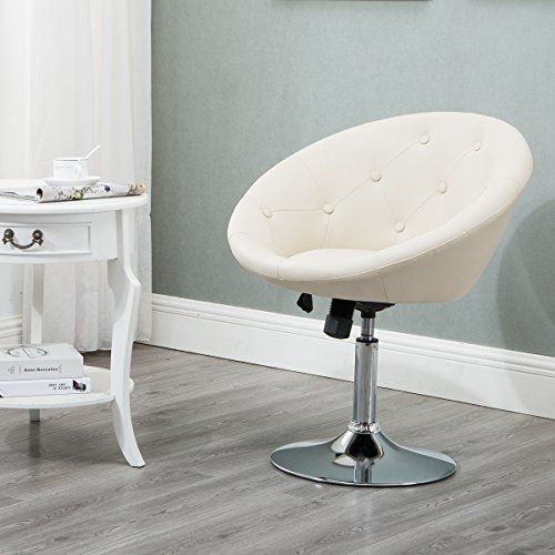 Round Tufted Swivel Chair, Luxury Leather Contemporary Back Adjustable Tilt Lounge Chair, Cream … by windaze