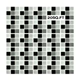 EACHPOLE 20 Pack Semi-Gloss Black Grey White Smooth Glass Tile Sheets Mesh Backing for Bathroom or Kitchen, APL2007