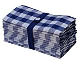 Cotton Craft 12 Pack Gingham Checks Oversized Dinner Napkins - Navy-White - Size 20x20 - 100%...