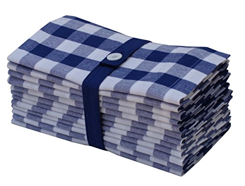 Cotton Craft 12 Pack Gingham Checks Oversized Dinner Napkins - Navy-White - Size 20x20 - 100% Cotton - Tailored with mitered corners and a generous hem - Easy care machine wash (White And Blue Dinner Napkins)