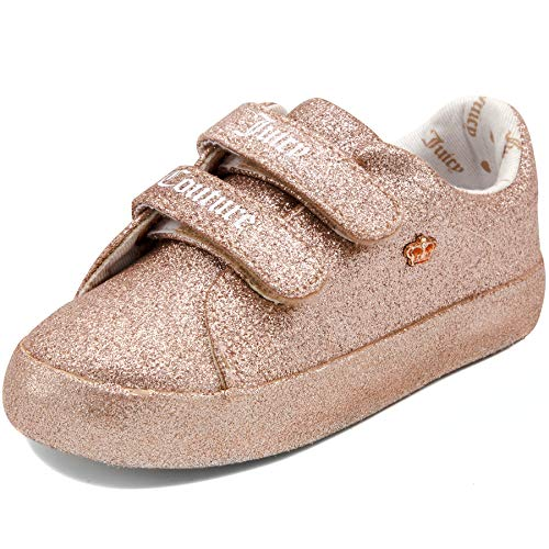 (Juicy Couture Kids JC Baby Ferndale Prewalk Girls Fashion Adjustable Strap Strap Crib Sneakers, Soft Sole Shoes 1 Infant Rose Gold)