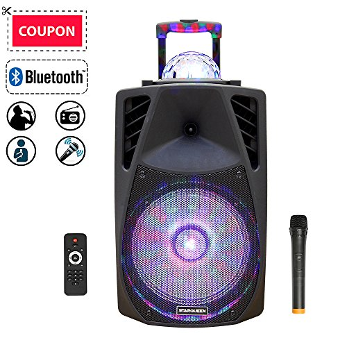 "STARQUEEN 12"" Rechargable Bluetooth Portable Pa Speaker Karaoke System with Wireless Microphone and Colorful DJ Party Lights, AUX/USB/TF Input, FM Radio, Handle & Wheels & Hole for Speaker Stand"