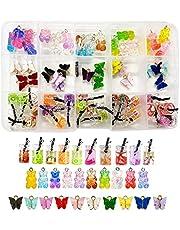 60 stycken fjäril berlocker akryl och björn godis hänge set hänge pyssel charm smycken hängen örhängen armband halsband gör-det-själv halsband armband örhängen
