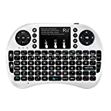 Rii i8+ Wireless mini Keyboard with Touchpad Mouse remote,LED Backlit, Rechargeable Li-ion Battery for Raspberry Pi 2/3, MacOS,HTPC, IPTV, Android TV Box ,Windows 7/8/10 (White with Backlit)
