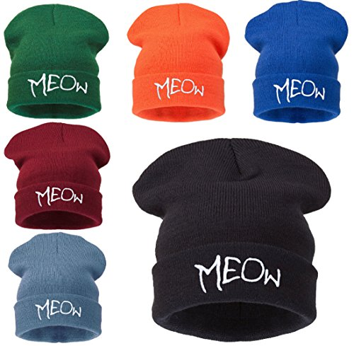 Winter Warm 4sold Men Black Beanie Hat Hair Day Bad Meow1 qwpptFH