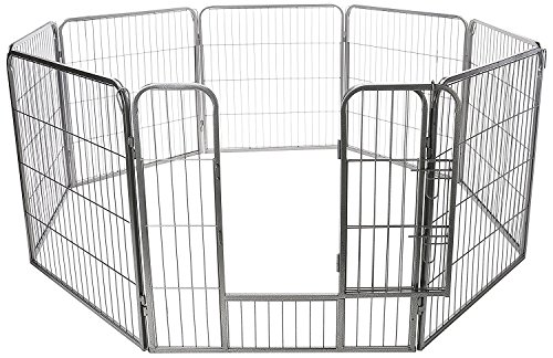 OxGord-Dog-Animal-Heavy-Duty-Playpen-Large-Metal-Hammigrid-Wire-Folding-Exercise-Yard-Fence-8-Panel-Popup-Kennel-Crate-Fence-Tent-Portable-32-inches