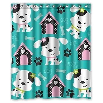 Elegant Happy Dog Pattern With Paw Print Custom Shower Curtain 60u0027(w)x72u0027(h)