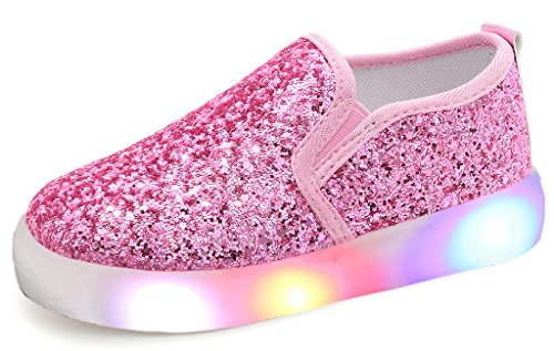 UBELLA Girl's Light Up Sequins Slip On Loafers Flashing LED Casual Shoes Flat Sneakers (Toddler/Little Kid) Pink -