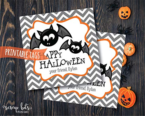 Moira Personalized Printable Halloween Bat Tags Happy Halloween Tags Printable Bat Labels Spooky Halloween Labels -