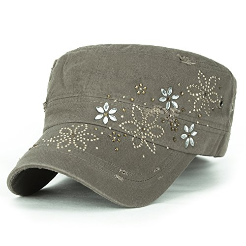 ililily Crystal Gemstone Stud Flower Vintage Cotton Military Army Hat Cadet Cap, Olive Drab