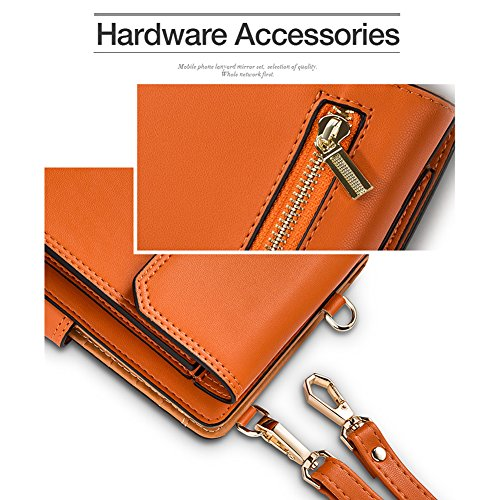 iPhone 7plus Wallet Case iPhone 6 Case Cell Phone Crossbody Shoulder Purse Bag Small Messenger Pouch Bags with Card Holder Slot for iPhone 8 8plus 7 7plus 6S 6 6plus (Orange) by SHINEFUTURE (Image #4)