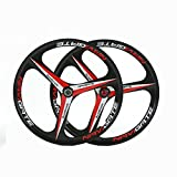 """wheels 26"""" inches Mountain Bicycle Wheel 2PC MTB magnesium alloy wheel 3 spokes Bicycle (Black 26 inch)"""