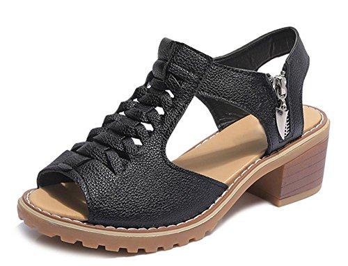 La señorita Xia Ji mujeres de las sandalias de la cremallera de las sandalias de los estudiantes sandalias y zapatillas Black