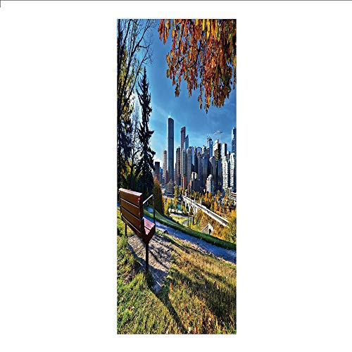 3D Decorative Film Privacy Window Film No Glue,City,Park Bench Overlooking The Skyline of Calgary Alberta During Autumn Tranquil Urban,Multicolor,for Home&Office