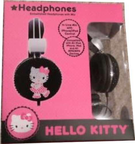 Hello Kitty Bejeweled Headphones with Mic - Black (HK3860...