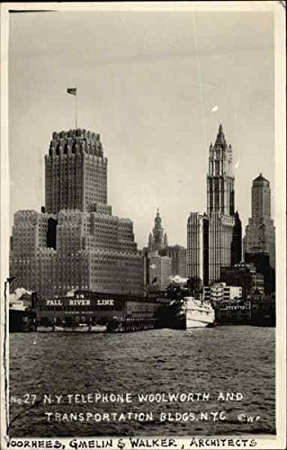 NY Telephone, Woolworth and Transportation Buildings New York, New York Original Vintage Postcard ()