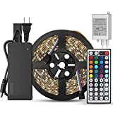 SUPERNIGHT 5-Meter Waterproof Flexible Color Changing RGB SMD5050 300 LEDs Light Strip Kit with 44...