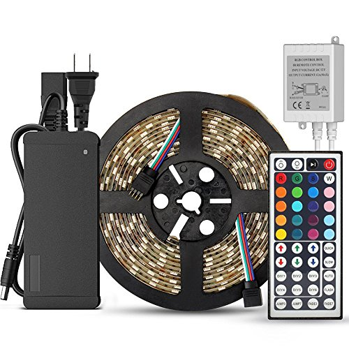 SUPERNIGHT 5-Meter Waterproof Flexible Color Changing RGB SMD5050 300 LEDs Light Strip Kit with 44 Key Remote and 12V 5A Power Supply from SUPERNIGHT