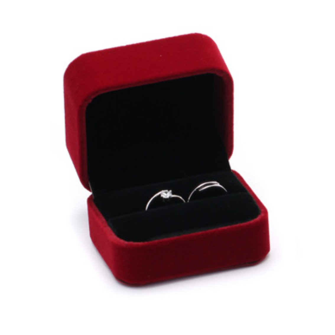 Amazon Velvet Ring Box Decorative Jewelry Wedding Gift For Double Red Home Kitchen: Red Wedding Ring Box At Reisefeber.org