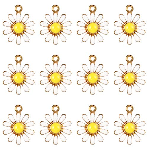 50pcs Gold Plated Cute Mini Charms Enamel Sunflower Pendants for DIY Jewelry Making Necklace Bracelet Earring Jewelry Findings Hypoallergenic Alloy (Sunflower)