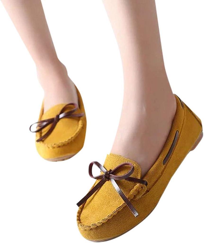 LILICATღFemmes Cuir Mocassins Casual Bateau Loafers Plates Chaussures de Conduite,Femme Loafers Casual Bateau Chaussures de Ville,Plats Semelles Epaisse Confortable,Ballerines en Cuir /à Bowknot